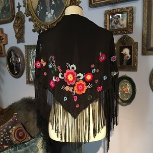 Lucky Brand Silk Embroidered Wrap Shawl Scarf OS